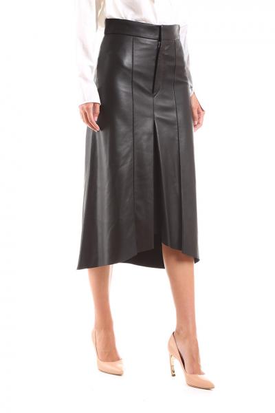 1cfc34811833 ISABEL MARANT - Čierna kožená sukňa vpredu skladaná