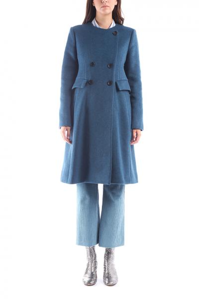 ebfe6a3357ee ISABEL MARANT - Dvojradový tyrkysový kabát