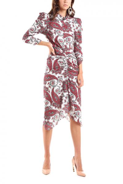 5c312703e191 ISABEL MARANT - Farebné vzorované šaty s nariasením na rukávoch a od ...