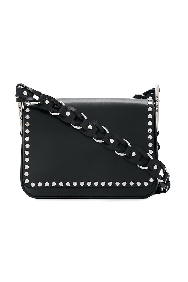 045e867d95bc ISABEL MARANT - Čierna kožená kabelka na rameno so zapletaným koženým  strapom